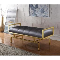 Luxury Bedding FBH2637 Contemporary Tufted Seating Goldtone Metal Leg Bench, Brown