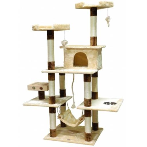 Go Pet Club SF060 IQ Busy Box Cat Tree House Toy Condo Pet Furniture, 44 W x 22 L x 70 H in.