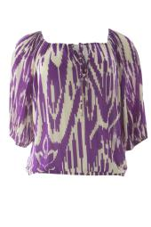 VELVET by Graham & Spencer Women's Print Cropped Peasant Top Small Purple