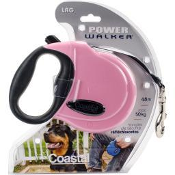 Power Walker 16' Retractable Dog Leash Large-Pink