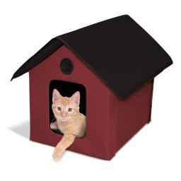 K&H Pet Products 3994 Red / Black K&H Pet Products Outdoor Heated Kitty House Barn Red / Black 22 X 18 X 17