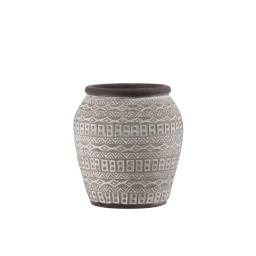 Urban Trends Collection 58904 Cement Round Bellied Vase with Brown Lip, Tribal Pattern Design Body & Tapered Bottom Painted Finish, Taupe - Medium