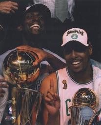 Kevin Garnett & Paul Pierce, Game Six of the 2008 NBA Finals With Trophies Celebration #31 Sports Photo