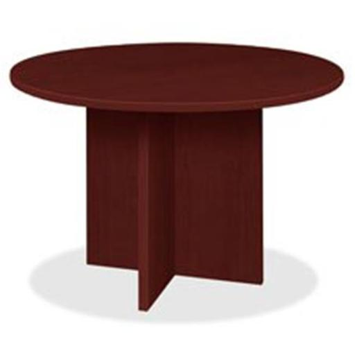 Lorell LLRPT42RMY Prominence Round Laminate Conference Table - Mahogany
