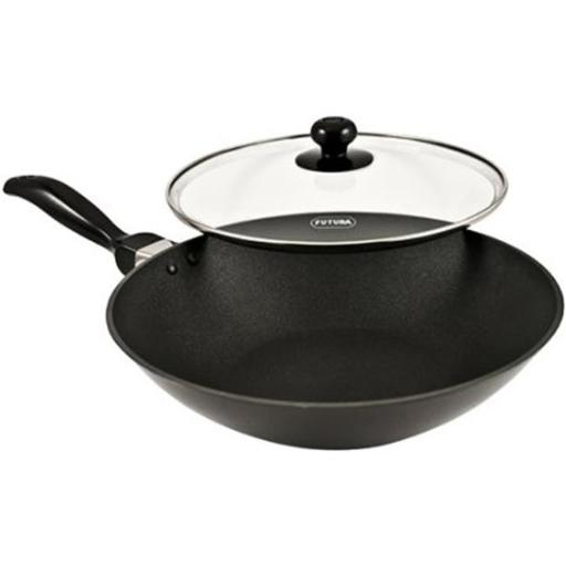 Hawkins Q72 Futura Non-Stick Deep-Fry Pan(Kadhai) with Glass Lid and Flat Bottom - 2 Litres
