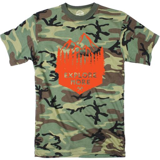 Camo Explore More Tshirt Cute Outdoors Camping Camoulflage Tee
