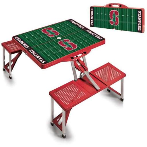 Picnic Time 811-00-100-535-0 Stanford University Cardinal Digital Print Portable Folding Picnic Table with Four Seats, Red