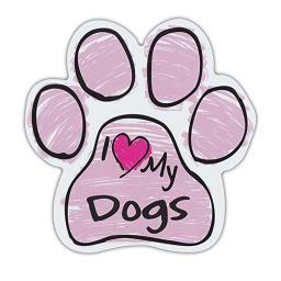 "Pink I Love My Dogs Scribble Paw Magnet Dog Cat 5.5"" x 5.5"" Shaped Puppy Kitten"