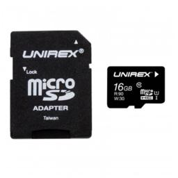 Unirex Memory UMF-165M MicroSD High Capacity 16 GB Class 10 with SD Adapter & USB Reader