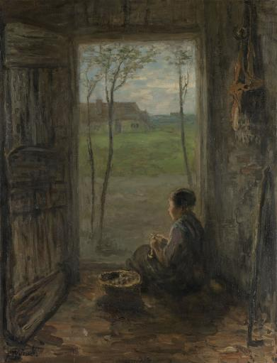 Larens Scene, Girl Peeling Potatoes, By Jozef Israels, Dutch Painting, Oil On Canvas. She Sits In A Doorway, Facing The Landscape Poster Print