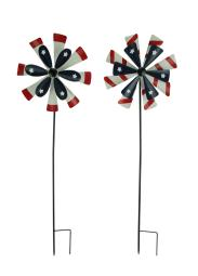 Red White and Blue Windmill Flowers Wind Spinner Garden Stake Set of 2