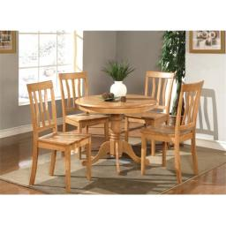 East West Furniture ANTI5-OAK-W 5 -Piece Antique Round Kitchen 36 in. Table and 4 Chairs with Wood seat