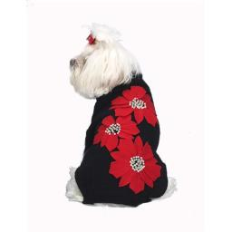 A Pets World 07163599-10 Poinsettia Applique Dog Sweater for Christmas - Black & Red, 10 in.