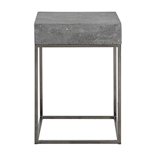 Uttermost 24735 20 x 14 x 14 in. Jude Concrete Accent Table - Concrete & Steel