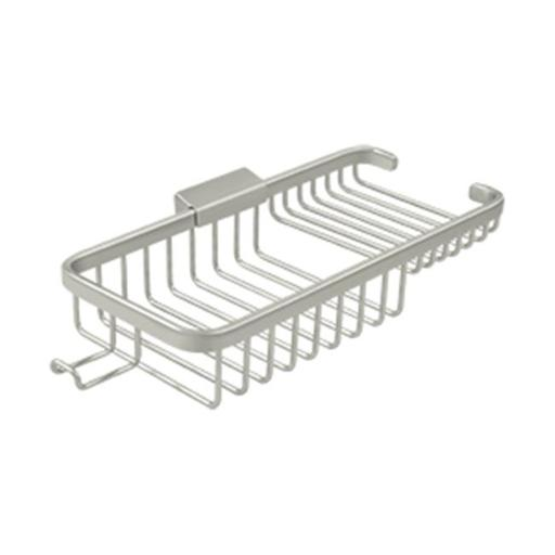 Deltana WBR1051HU15 10 in. Rectangular Deep & Shallow Corner Brass Wire Basket with Hook, Brushed Nickel
