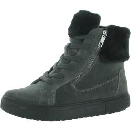 Naturalizer Womens Baker Suede Faux Fur Lace-Up Boot