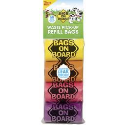 Bags On Board 3203910204 Multi-Color Bags On Board Waste Pick-Up Refill Bags 60 Count Multi-Color