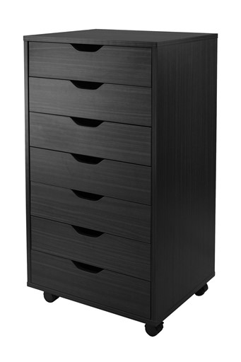 Winsome Solid Wood Halifax Cabinet for Closet / Office with 7 Drawers - Black