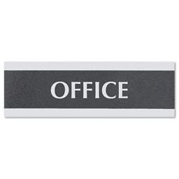 Headline Sign 4762 Century Series Office Sign- ''Office''- 9 x 1/2 x 3- Black/Silver