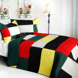 Italianism 3PC Cotton Vermicelli-Quilted Patchwork Striped Quilt Set-Full/Queen Size