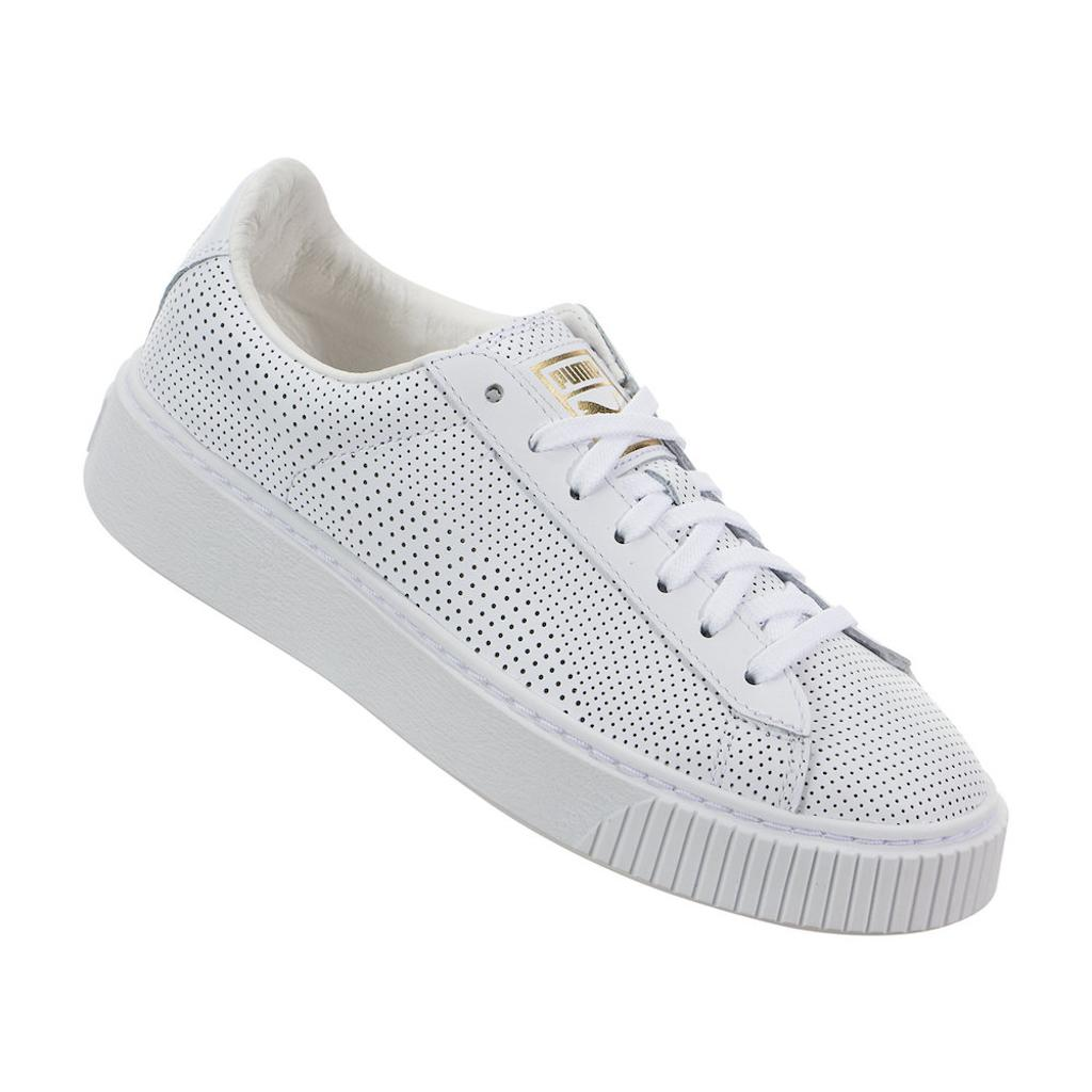 Puma Womens Basket Platform Perf PL Leather Low Top Lace Up Fashion Sneakers