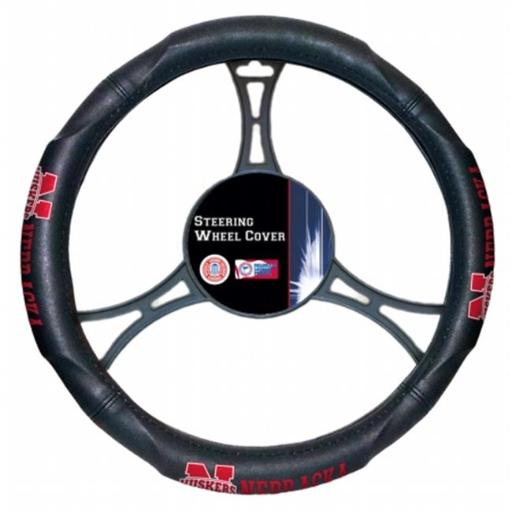 Northwest 1COL-60500-0006-RET NCAA Nebraska Car Steering Wheel Cover, 15.5 x 14.5 in.