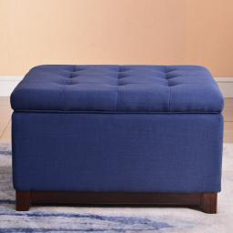 Belleze Linen Ottoman Storage Bench Stool Large Living Room Footrest Seat Tufted Foot Stool, Navy Blue