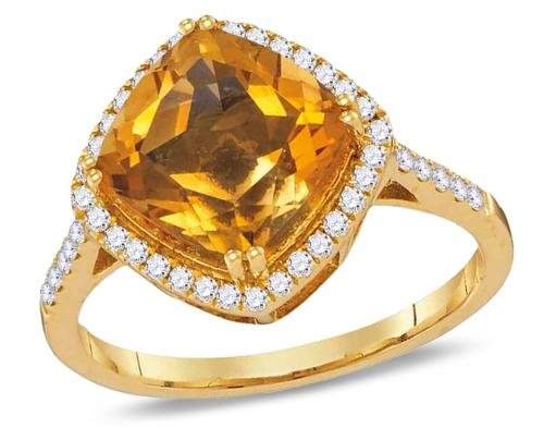 2.50 Carat (ctw) Natural Citrine Ring in 14K Yellow Gold with Diamonds