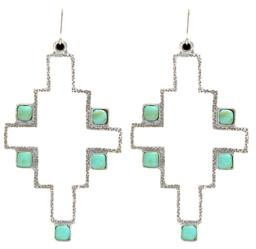 Angel Ranch Jewelry Womens Earrings Hammered Aztec Turquoise E44