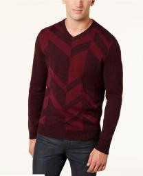 Alfani Men's Broken Chevron Sweater Port Size Medium