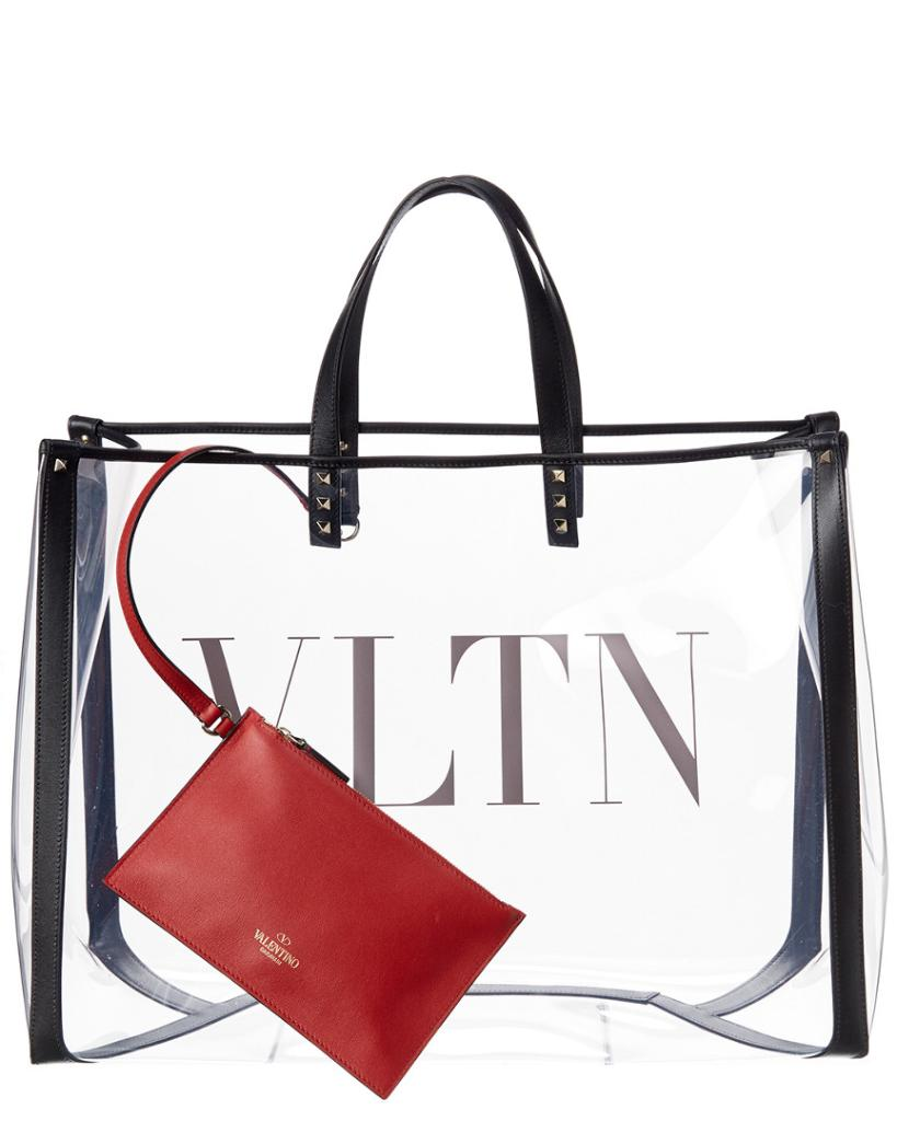 Valentino Grand Plage Large Leather & PVC Tote