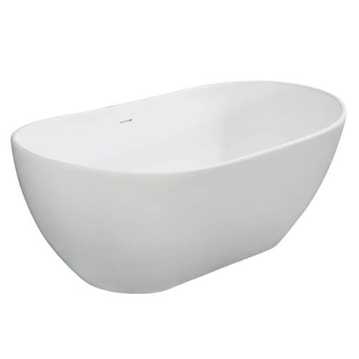 Kingston Brass VRTRS653224 65 in. Aqua Eden Solid Surface Resin Free Standing Tub with Drain Kit, White