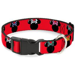 "Plastic Clip Collar - Minnie Mouse Silhouette Red Black Polka Dot - Large Pet Collar 1.0"" Large"