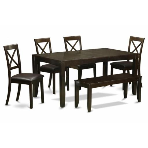 East West Furniture LYBO6-CAP-LC 6 Piece Dining Room Table With Bench-Kitchen Tables Plus 4 Dining Chairs and Bench