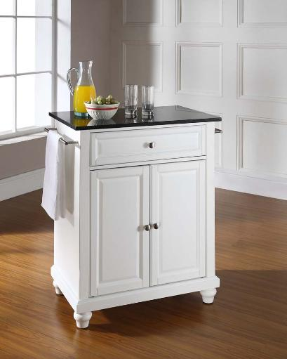 Crosley Furniture Cambridge Portable Kitchen Island with Solid Black Granite Top