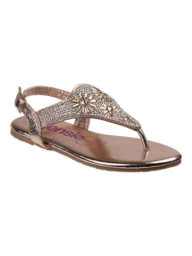 Kensie Girls Champagne Flower Jewel Applique Flip Flop Sandals 11-4 Kids