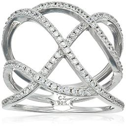 Rhodium Plated Sterling Silver White Cubic Zirconia Hollow Ring, Size 7