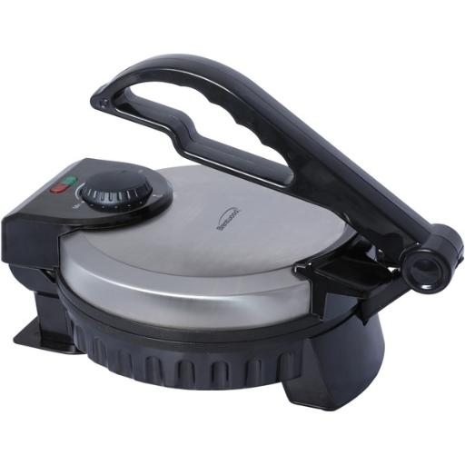 Brentwood appliances ts-127 electric tortilla maker • Makes tortillas, flat bread, chapatti, roti & more.• Cooks perfectly round & authentic 8 tortillas.• Adjustable heat for soft or crispy tortillas.• Easy-to-clean nonstick aluminum plates.• Power & preheat indicator lights.• Brushed Stainless Steel & Black.Electric Tortilla Maker