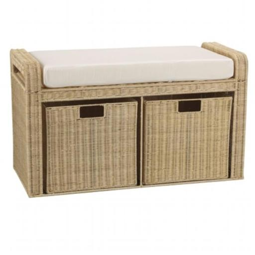 Household Essential ML-5788 Household Essentials Woven Rattan Storage Bench, 19 H x 34 W x 14.5 D in.