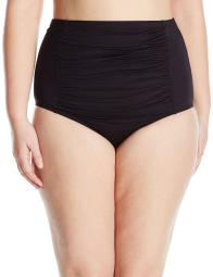 BECCA ETC Women's Plus Size Black Beauties Vintage Cut High Waist Bikini Bottom, 3X