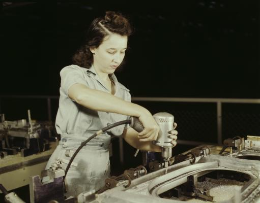 Women drilling a wing bulkhead for a transport plane, 1942. Poster Print by Stocktrek Images