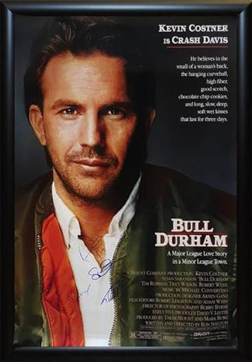 Bull Durham - Signed Movie Poster in Wood Frame with COA