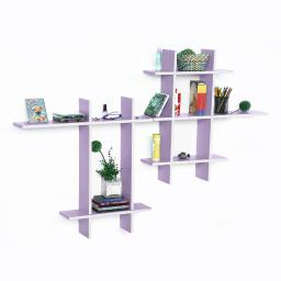 Gray Violet-MEGA Leather Cross Type Shelf / Bookshelf / Floating Shelf (9 pcs)