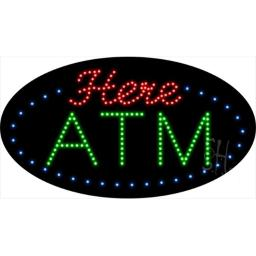 Sign Store L100-1901-outdoor ATM Here Animated Outdoor LED Sign, 27 x 15 x 3.5 In.