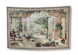 French Doors Garden View Tapestry Wall Hanging