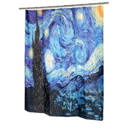 Carnation Home Fashions FSC13-SN 72 x 72 in. The Starry Night Fabric Shower Curtain, Multi Color