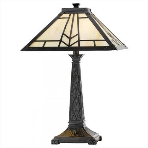 Cal Lighting BO-2096TB 60 W X 2 Mission Tiffany Table Lamp, Dark Bronze Finish