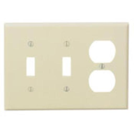 Cooper Wiring Pj28v 3-gang 2 Toggle & Duplex Plastic Receptacle Wall Plate, Virtually Unbreakable, Ivory