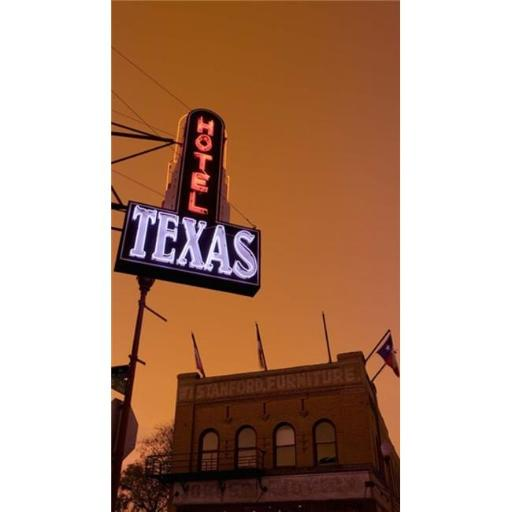 Panoramic Images PPI128876L Low angle view of a neon sign of a hotel lit up at dusk Fort Worth Stockyards Fort Worth Texas USA Poster Print by Pan