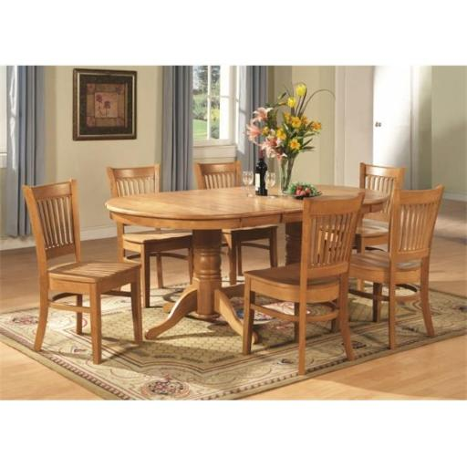 East West Furniture VANC9-OAK-W 9 Piece Dining Room Table Set-Double Pedestal Oval and A Leaf and 8 Dining Room Chairs
